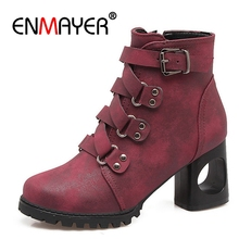 ENMAYER Woman high heel Ankle boots Winter Women Warm Buckle strap Boots Lady Platform Shoes Zipper PU CR587