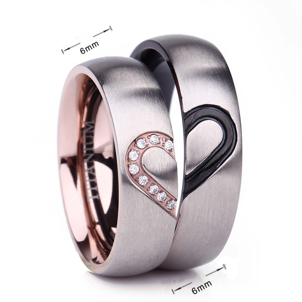 Couple Promise Rings - 6mm Black & Rose Gold Heart Matching Titanium Rings