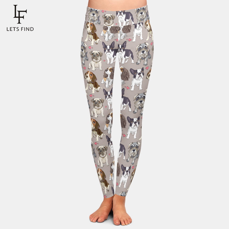 New Fashion Animal Cute Dog Gray Women High Waist Legging High Quality Milk Silk Printed Plus Size Leggings