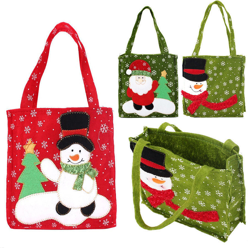 New Year Xmas Gifts Santa Claus Snowman Candy Bags Hangable Pouch Handbag Merry Christmas Storage Package Container Organizer-in Stockings & Gift Holders from Home & Garden