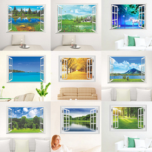 Nature Landscape 3D Window View Wall Stickers For Living Room Bedroom Decorative Decoration Home PVC Decor Mural Art Decals