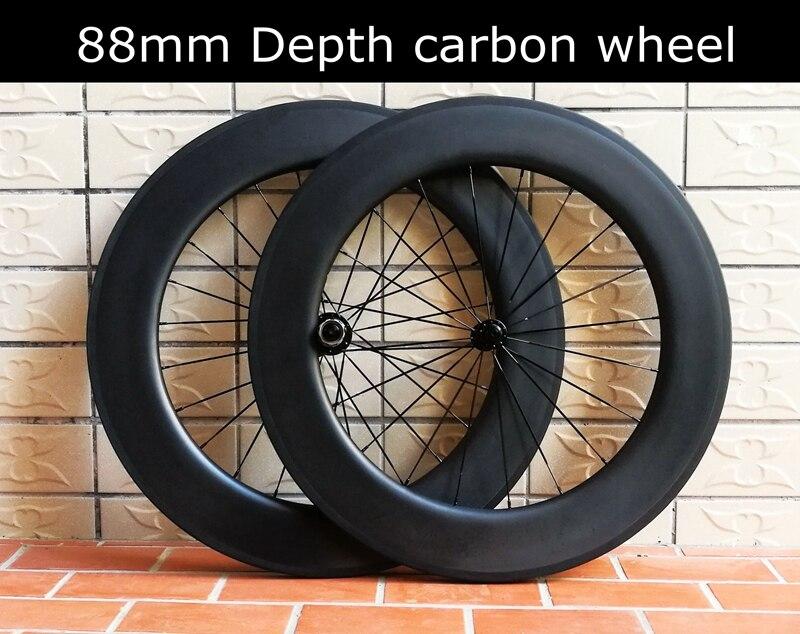 88mm carbon wheelset 23mm width clincher wheels carbon bike 808