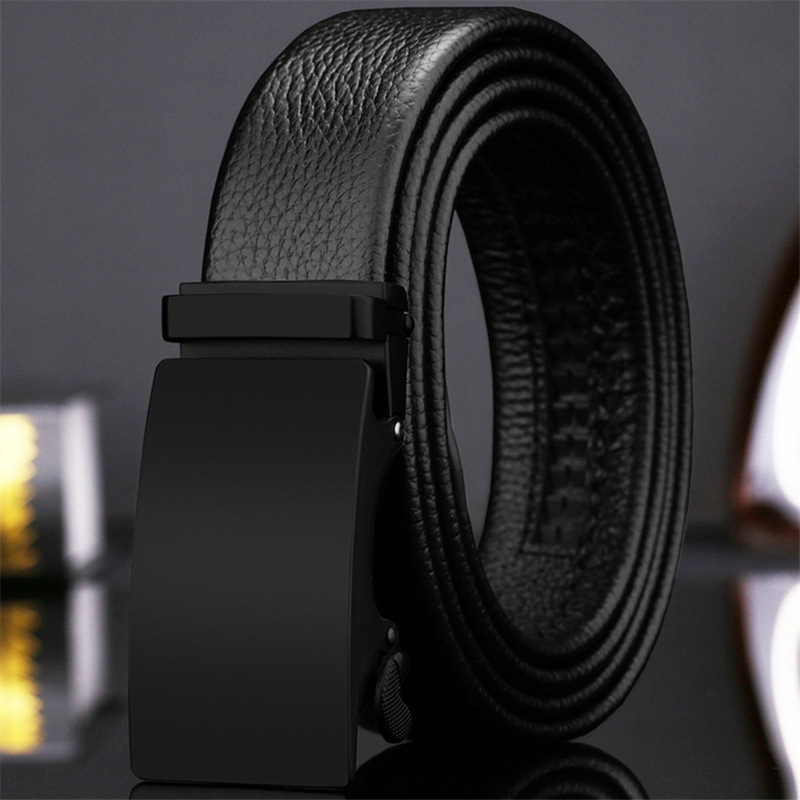 Metal Fashion Automatic   Belt   Men Male Genuine Leather Waist   Belts   Solid Black Brown Long   Belt   Men Luxury Formal Designer   Belts