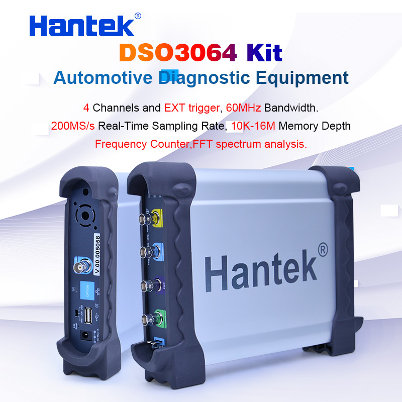 Hantek DSO3064 Automotive Oscilloscope kit for Car Diagnostic 4 channnel USB 2.0 200MS/s 60MHz Frenquency Counter LAN optional