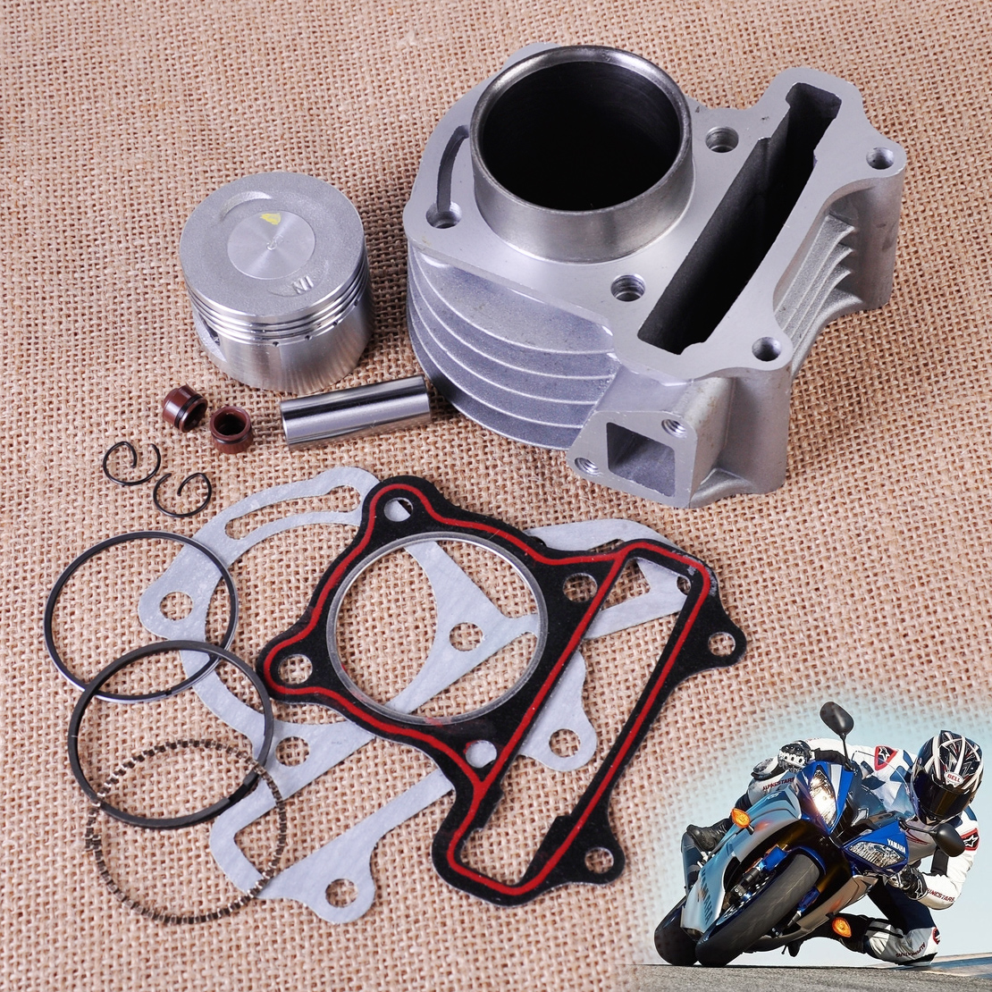 DWCX 47mm Big Bore Kit Cylinder Piston Rings fit for GY6 50cc to 80cc 4 Stroke Scooter Moped ATV with 139QMB 139QMA engine image