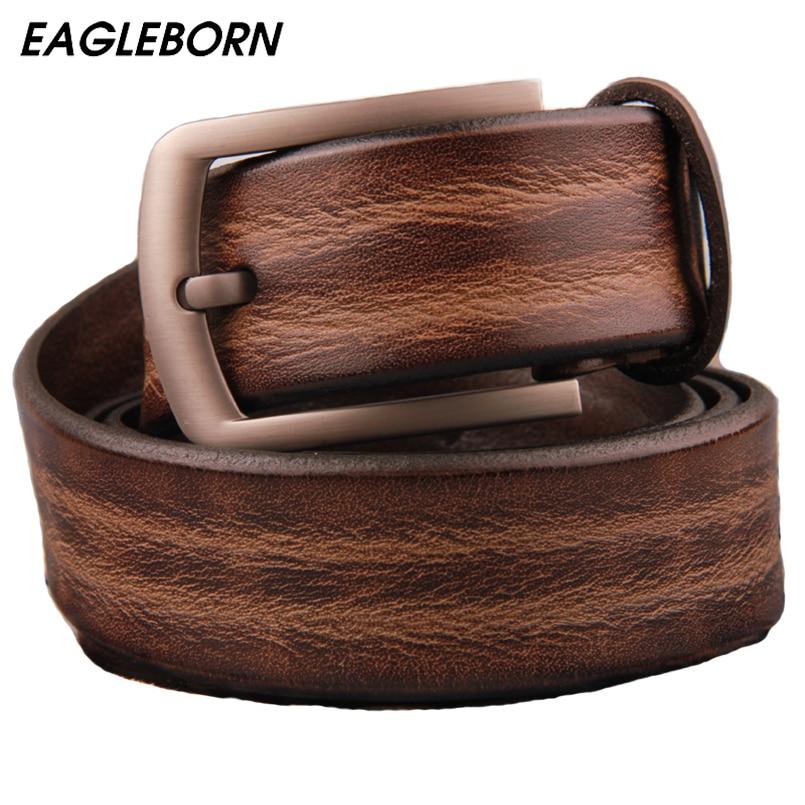 AIGLE-NÉ 2019 hommes ceinture en cuir de vache véritable bracelet de luxe mâle ceintures pour hommes nouvelle mode classice broche rétro boucle livraison directe