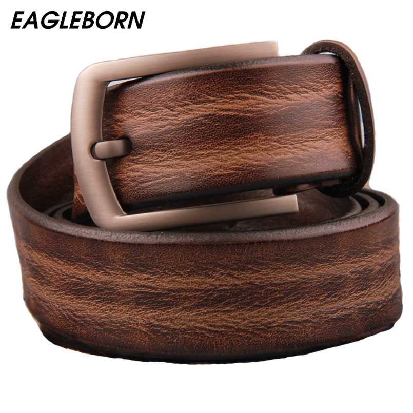 EAGLEBORN 2019 men <font><b>belt</b></font> cow genuine leather luxury strap male <font><b>belts</b></font> for men new fashion classice vintage pin buckle dropshipping image