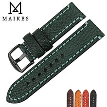 MAIKES Watch Accessories Handmade Genuine Green leather watch band 20mm 22mm 24mm 26mm watchbands men watch strap for Panerai genuine crazy horse leather watch band 20mm 22mm 24mm oil wax leather men s wristwatch strap for amazfit bip watch accessories