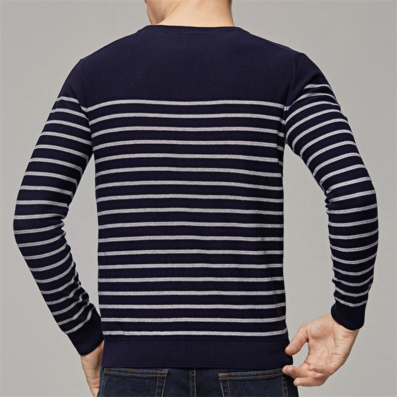 MuLS 2019 Spring Knit Sweater Men Pullover Striped Sweater Jumpers Autumn Male Cotton knitwear Youth Blue Black Grey Size M-3XL 4