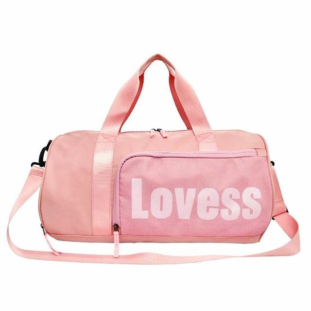 992e18042721 Pink Duffel Bag Sport For Gym New PU Women Travel Leather Bag Men Black Waterproof  Bag