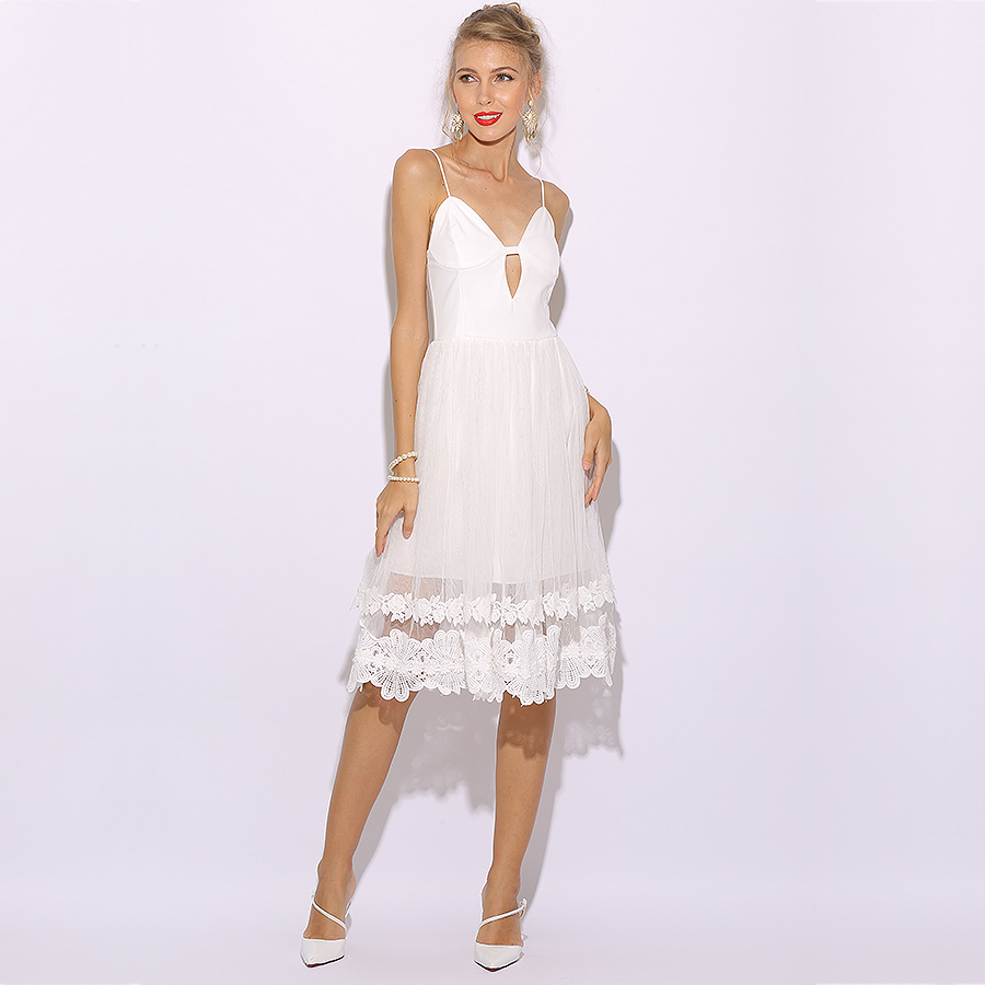 e929d98b3a5 Aliexpress.com   Buy Parthea Sleeveless Women Summer Dress Elegant Lace  Sheer White Dress Long Midi Party Dress Sexy Club Wear Dresses Skater  Vestido from ...