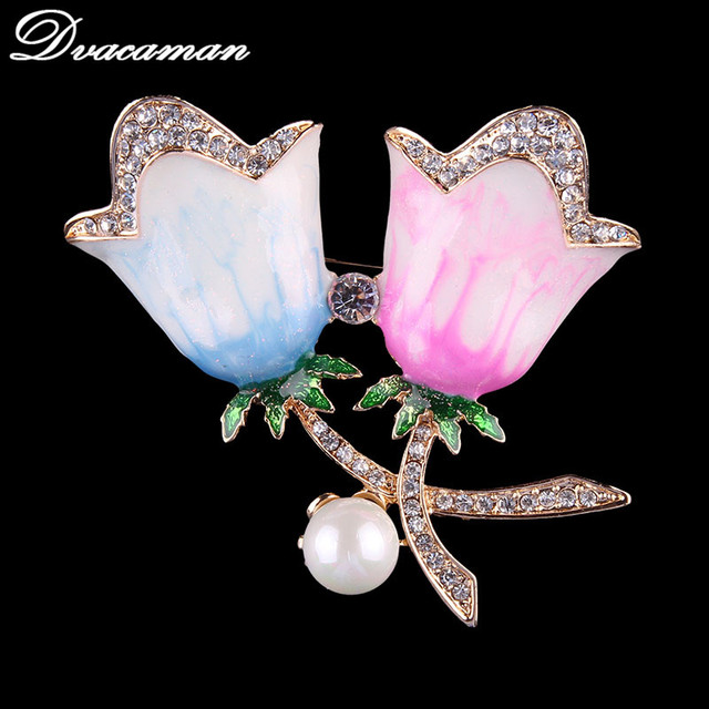 372e49d6f29 Dvacaman Elegant Tulip Flower Brooch Pin Rhinestone Crystal Costume Jewelry  Clothes Accessories Jewelry Brooches For Wedding