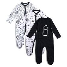 3 ADET Yenidoğan Erkek Bebek Kız Rompers Uzun Kollu Pamuk Oyalamak Tulum Unisex Bebek Giyim Seti çocuk pijamaları Setleri Baskılı