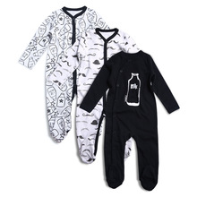 3PCS Newborn Baby Boy Girl Rompers Long Sleeve Cotton Embroider Jumpsuit Unisex Baby Clothing Set Kids Pajamas Sets Printed