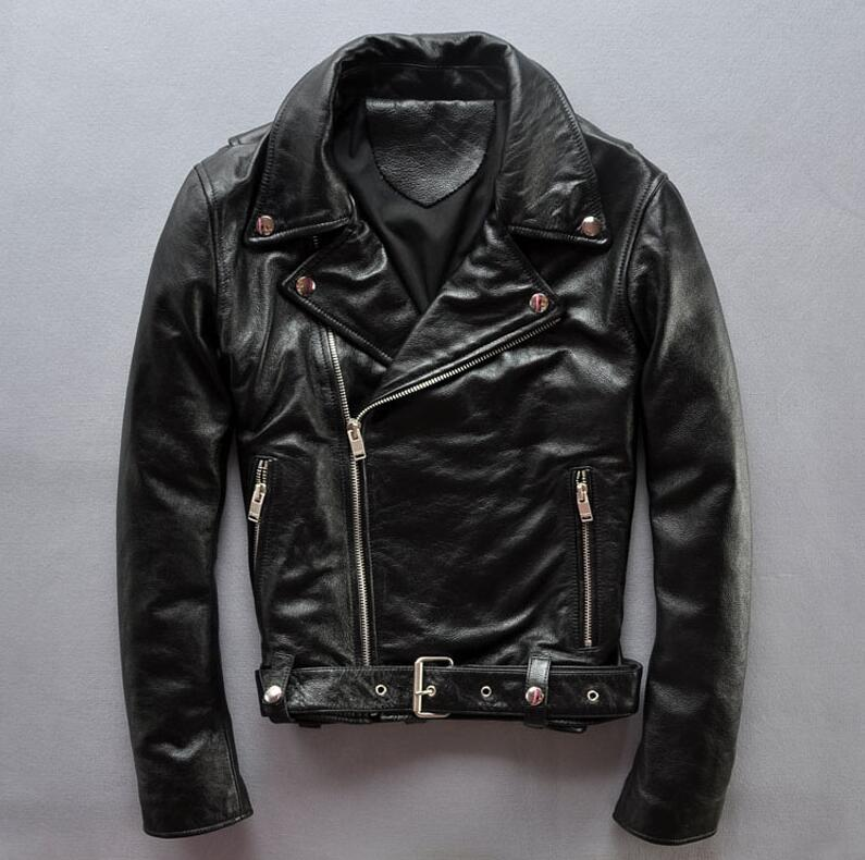 2017 Autumn and winter men's belt leather motorcycle coatsuit leather jacket embroidered leather coat cow skull locomotive coat