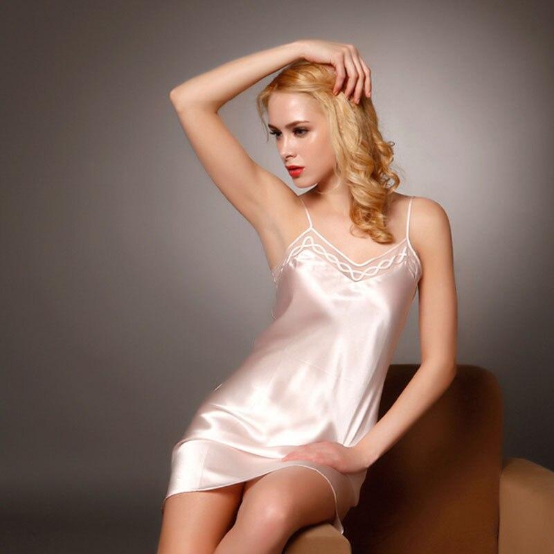 Zijde Satijn Nightgowns 100% Mullberry Zijden Vrouwen Zijden Nachtkleding Sexy Lingerie Jurk (Hand wassen alleen) - 2