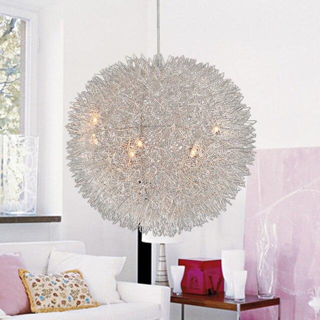 alluminio rotonda lampade a sospensione sfera creativa camera da letto soggiorno studio singola. Black Bedroom Furniture Sets. Home Design Ideas