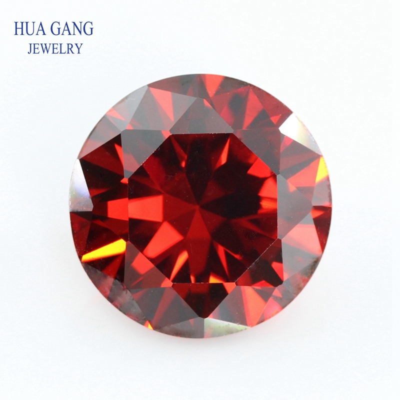 Garnet Cubic Zirconia Brilliant Cut Loose CZ Stone Round Shape Synthetic Gems For Jewelry Free shipping AAAAA Quality 0.8~10mm