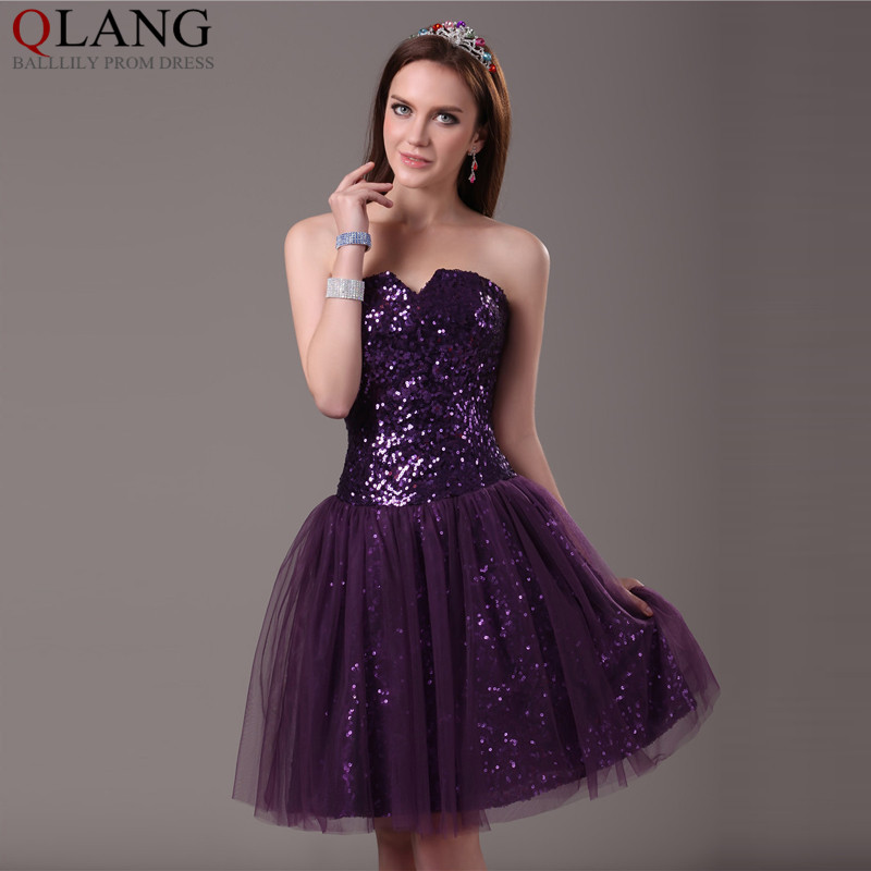 Compare Prices on Dark Purple Prom Dresses Short- Online Shopping ...
