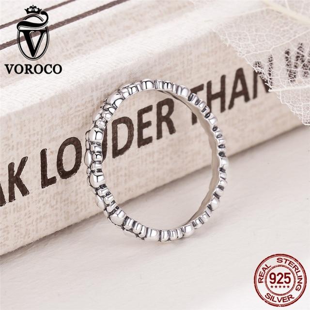 VOROCO Authentic 925 Sterling Silver Zampa di Cane Impilabile Anelli di Barretta per Le Donne Abbigliamento Accessori Gioielli S925 VSR129