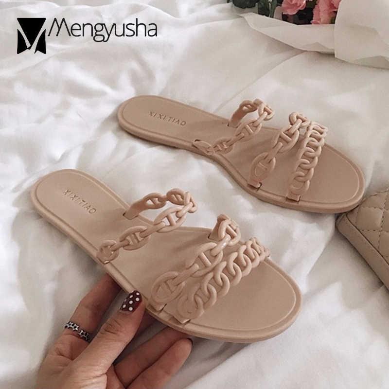 Brand luxury designer chains flats beach sandals women street fashion three band chain belt flip flops 2019 hot popular slides