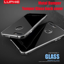 LUPHIE Brand Toughed Armor Metal Case for Apple iPhone 7 7Plus Aondized Aluminum Frame+ Tempered Glass Cover