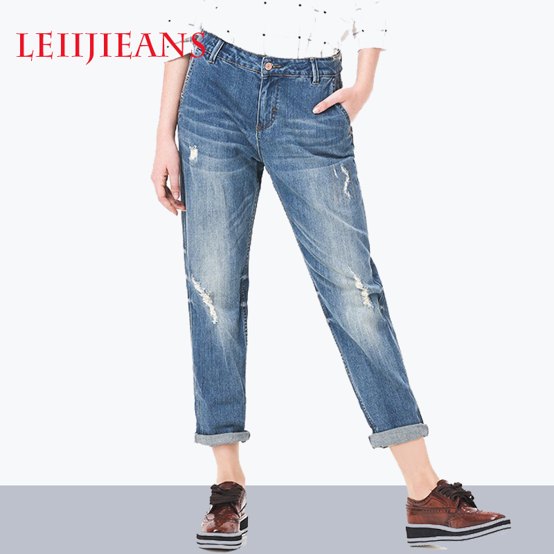 Boyfriend jeans for Women Blue Fashion Ripped Jeans for women Plus Size Pant Capris Denim Elastic cotton Straight Pant mid waist