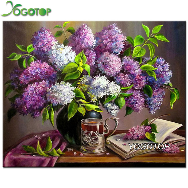 YOGOTOP Needlework Full Diamond Painting Cross Stitch Purple flowers and books Diy Diamond Embroidery Kits Diamond Mosaic VS490