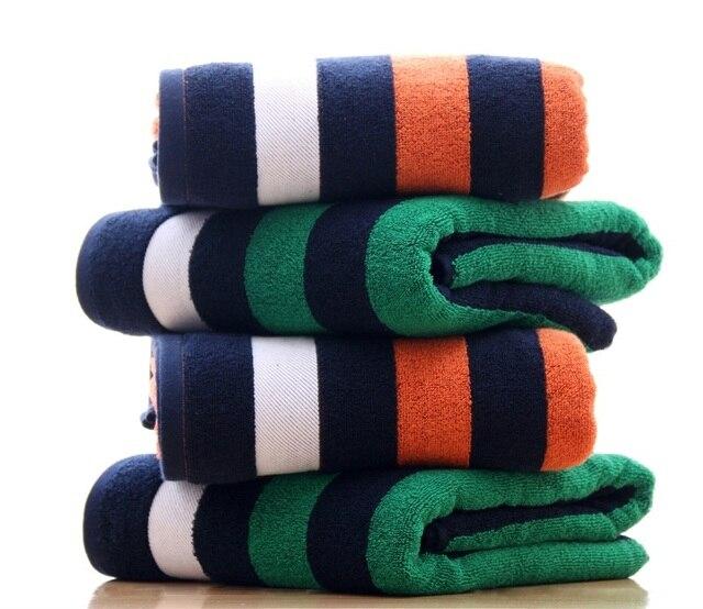 High Quality 430g Combed Yarn Cotton Bath Towels Bathroom 73*140cm Striped  Large Beach Towel