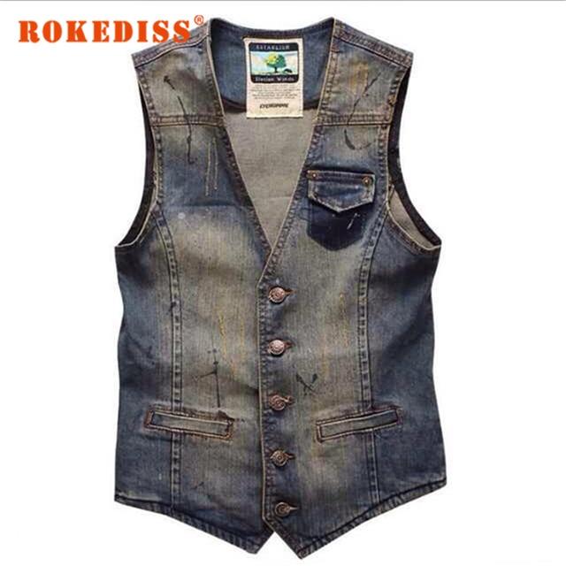 Vintage Design Men's Denim Vest Male Fashion Sleeveless Jackets Man Jeans Brand Clothing Men Denim Waistcoat Plus Size 3XL G270