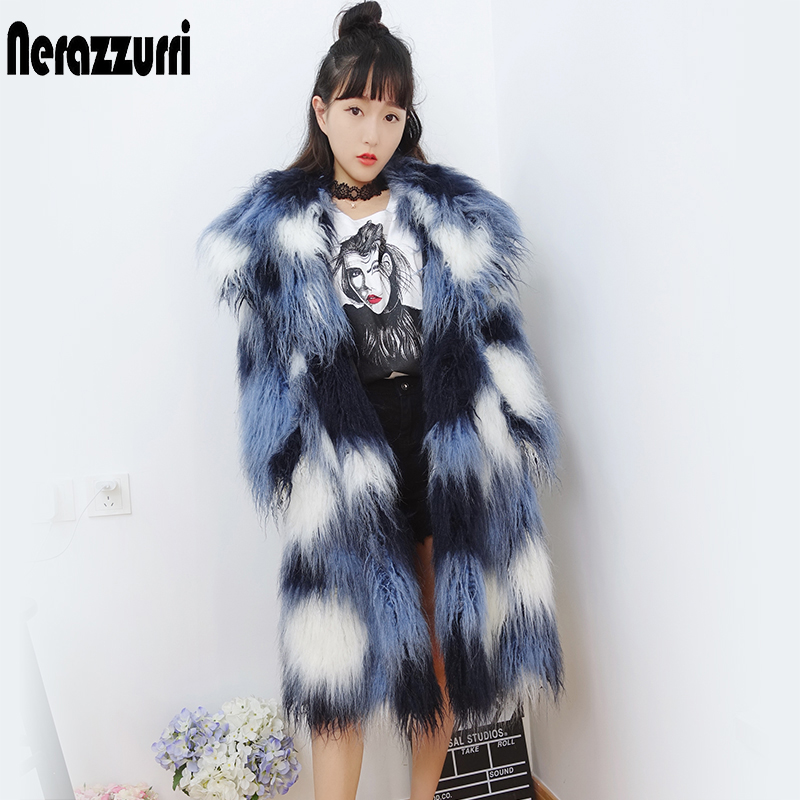Nerazzurri Shaggy Faux Fur Coat Gradual Long Sleeve Hairy Colorful Mongolian Sheep Fur Overcoat Plus Size