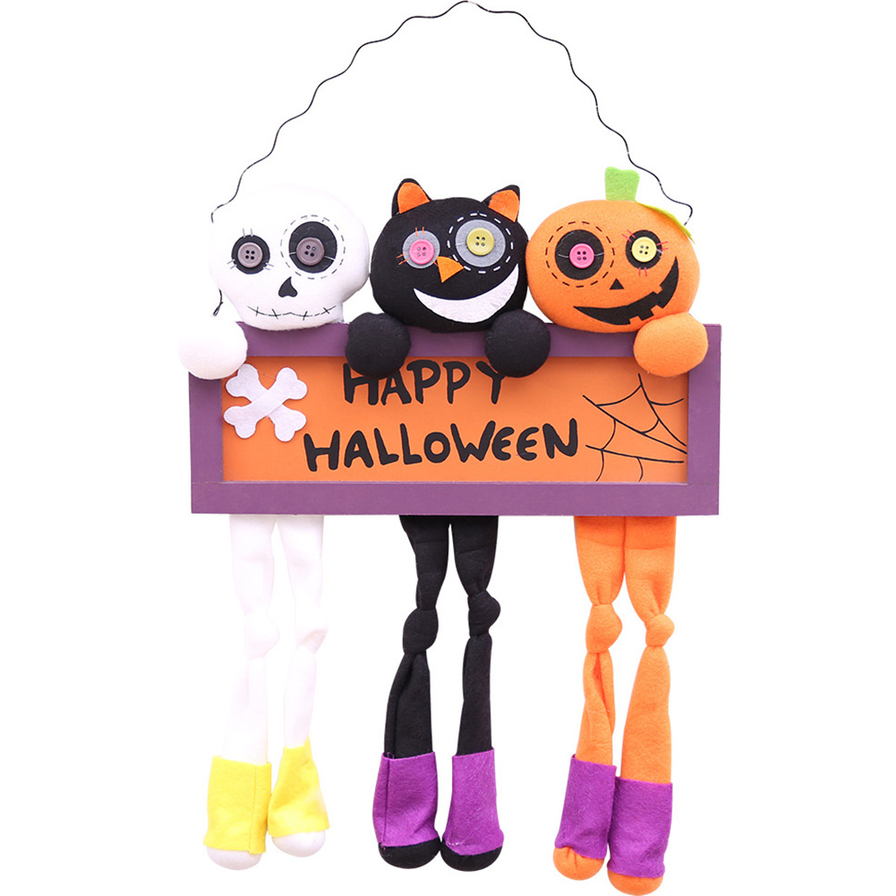 Plush Dolls Cloth Fabala Home Decoration Halloween Wood Props Ornament Door Hanging Letters Plaque Height 54cm