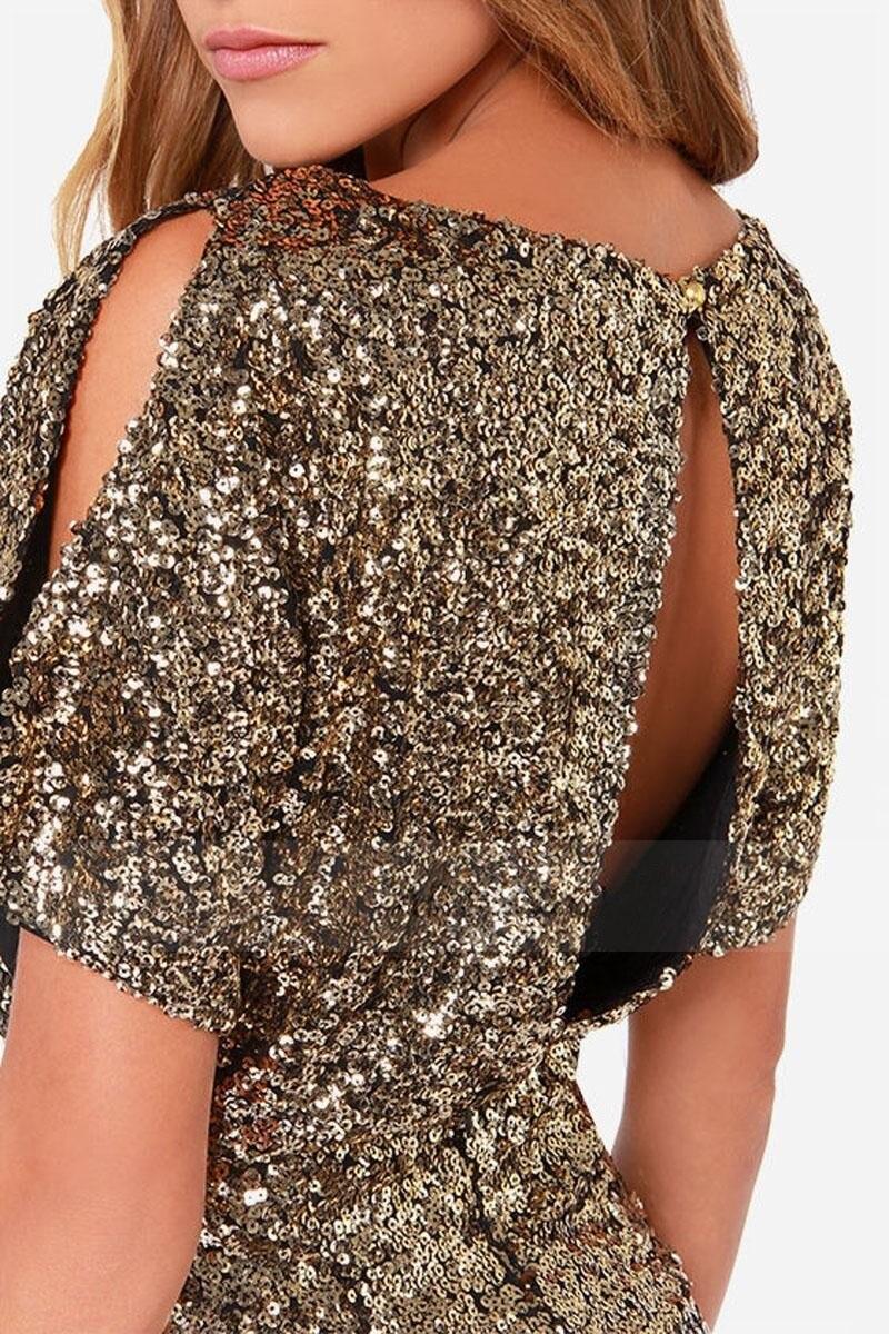 Image 4 - Sexy Sequins Evening Party Dress Shiny Gold Short Club Disco  Dress High Quality Vestido de Fiesta Noche Robe Abendkleid HX  6060Dresses