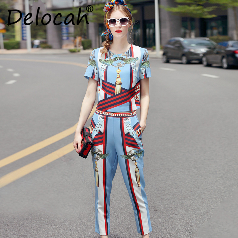 Delocah Summer Fashion Designer Runway Women Suit Short Sleeve Elegant Striped Printed T-shirt + Vintage Pants Set