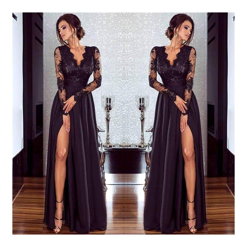 263eb3410fa6 2018 New Vestidos Autumn Women Black Pure color Lace A-line Sexy Party  dresses Patchwork