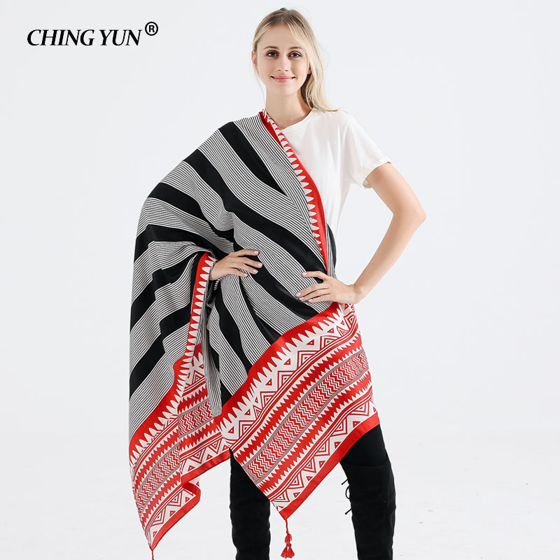 Winter Warm Woman Scarf Fashion Wild Ethnic Geometric Tassels Print Cotton&linen Lady Scarf Black&White Fine stripes Shawl 2018