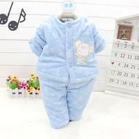 Cartoon Bear Baby Sets Solid Soft Newborn Parkas Cute Button Baby Girls Clothes Soft Warm Winter