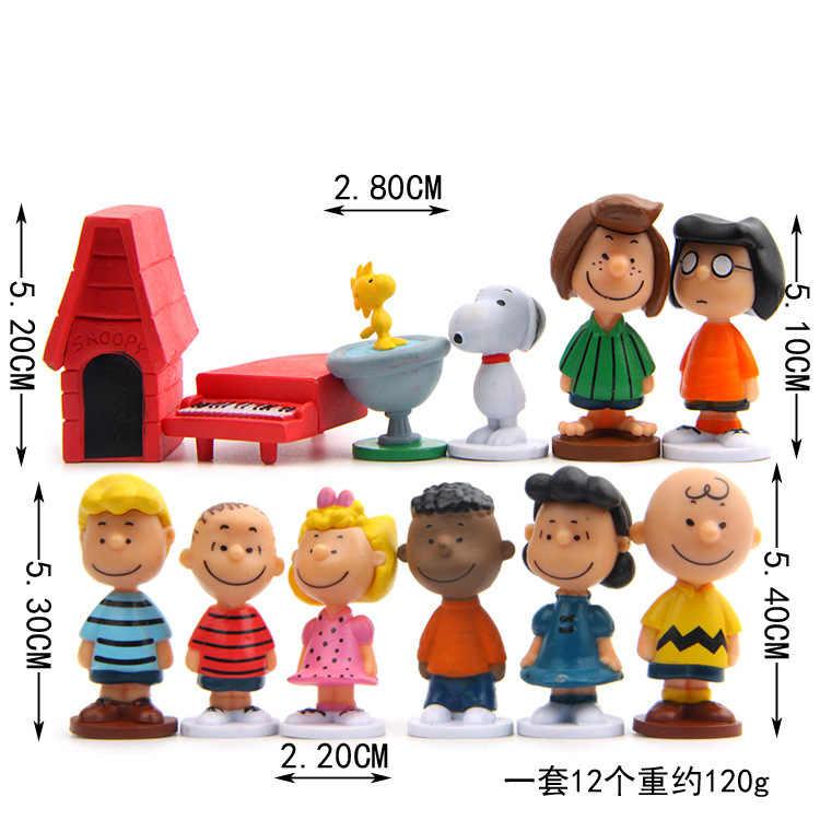 12 pçs/lote Amendoim Woodstock Charlie Brown E Amigos Beagle Brinquedo do Miúdo Da Menina Figura de Ação Animiation Toy Kids Presente Modelo Em Miniatura