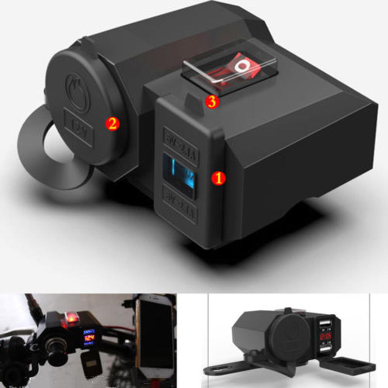 1pc Motorcycle Cigarette Lighter Socket Outlet Dual USB Charger LED Voltmeter+Switch Motorcycle Accessories