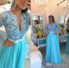 Sexy 2017 Long Chiffon Prom Dresses Deep V Neck Long Sleeve Lace Evening Gown Mermaid Formal With Pearls Beads Ruffle Bow EG63
