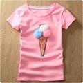 Summer Women 3D Ice Cream Sequined T-Shirts Kawaii Short Sleeve Harajuku Pink T Shirt Lady Top Cotton Casual Blusa Shirt 32626