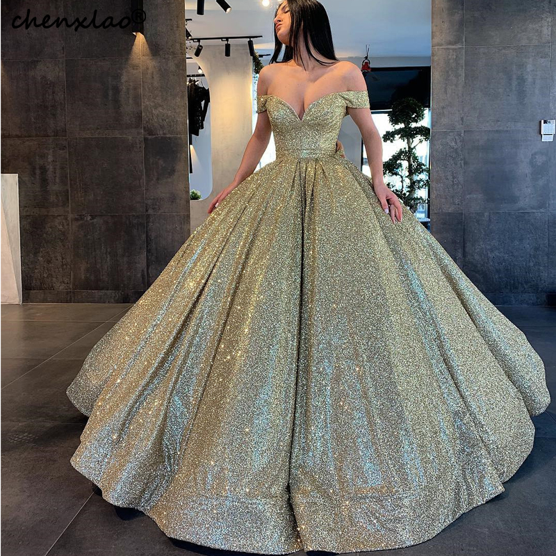2019 New Listing Sequin Evening Dress Long Ball Gown Off The Shoulder Floor Length Evening Dresses Formal Party Gowns Vestidos