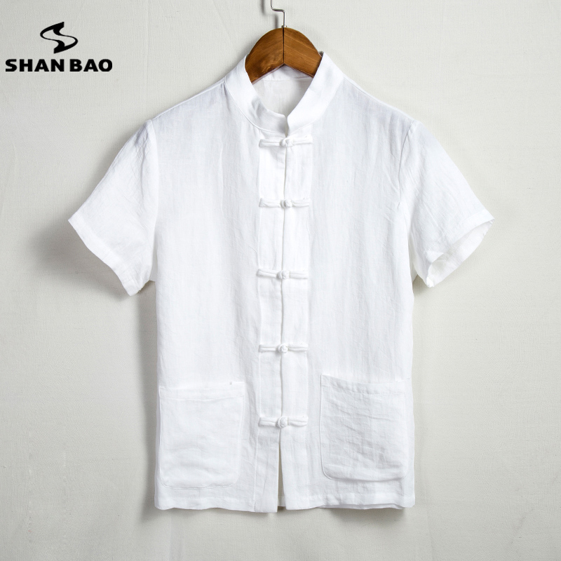 Men s cotton linen short sleeve shirt fashion Chinese style single breasted thin breathable shirt 2017