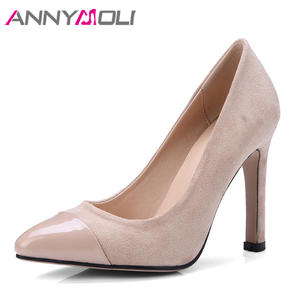 ANNYMOLI Women Pumps High Heels Lady Party Shoes Pointed Toe Shallow Dress Shoes Apricot Sexy Thin Heels Footwear Big Size 34-43 sexy tassel blade heels women pumps pointed toe metal heels party dress shoes big size 10 slip on office lady shoes free ship