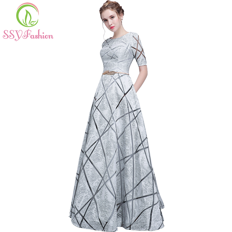SSYFashion New Simple Prom Dress The Banquet Elegant Grey Short Sleeves Floor-length Evening Party Gown Custom Formal Dresses