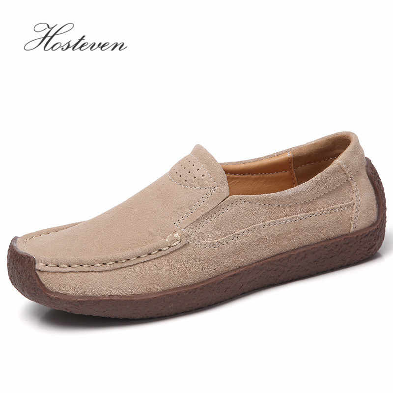 Hosteven Women Shoes Loafers Casual Flats Moccasins Genuine Leather Spring Autumn Female Ladies Leather Black Footware
