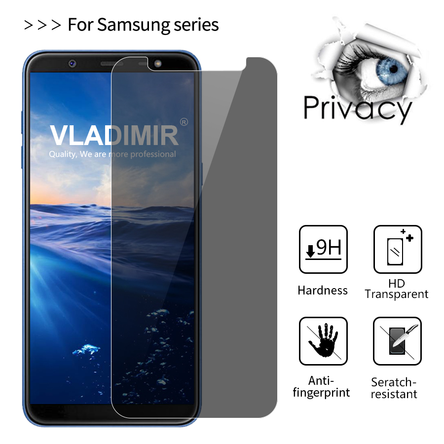 Vladimir 9H Privacy Anti Spy Tempered <font><b>Glass</b></font> Screen Protector Film For <font><b>Samsung</b></font> Galaxy J6 On6 J8 On8 J3 <font><b>J5</b></font> J7 2017 Protective Film image