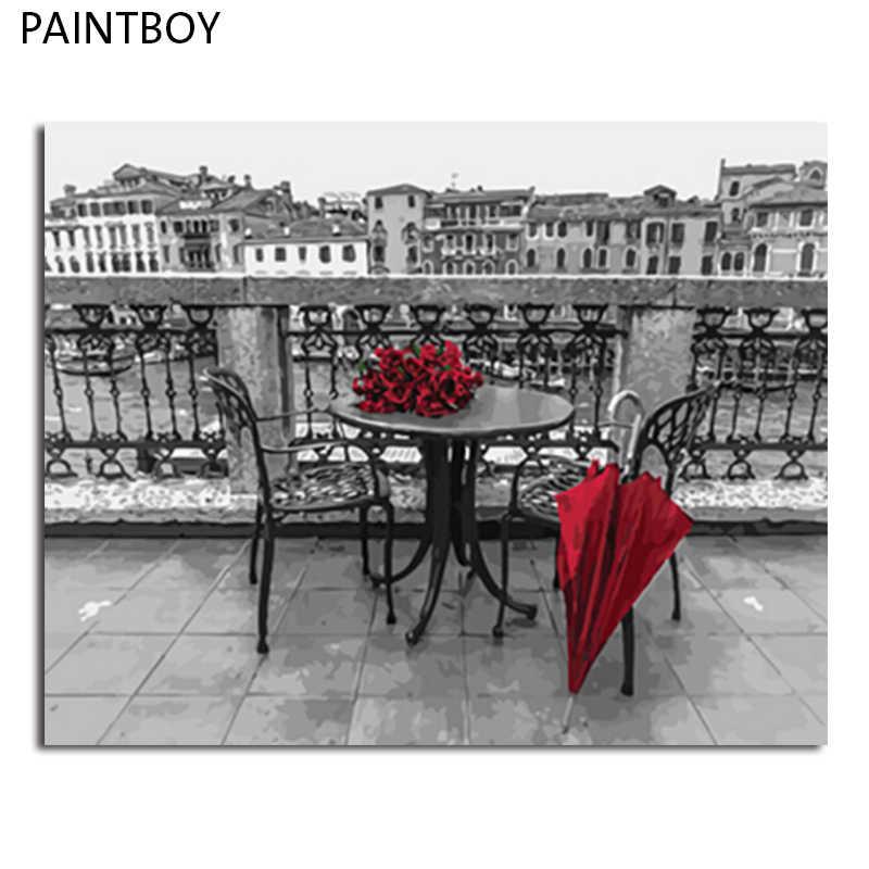 PAINTBOY oprawione obrazy malowanie numerami krajobraz Handwork obraz olejny na płótnie Home Decor dla pokoju gościnnego GX4178