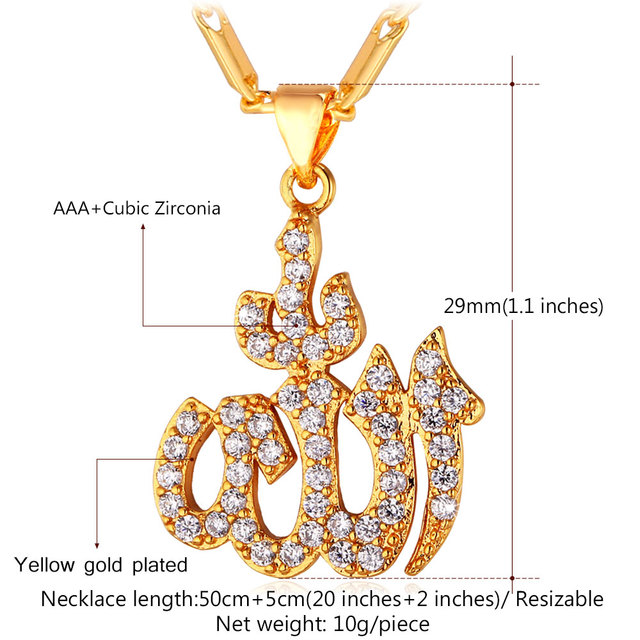 Islamic Allah Pendant Necklace Gold Plated Cubic Zirconia Charms Religious Muslim Jewelry Women