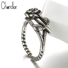 Chandler Brand New 925 Sterling Silver Antique Twist Branch Rose Flower Ring For Women Men Lovers Couples Romantic Love Jewelry(China)